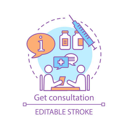 Get consultation concept icon. Health check idea thin line illustration. Clinic center. Doctor appointment. Disease prevention. Vector isolated outline drawing. Editable stroke
