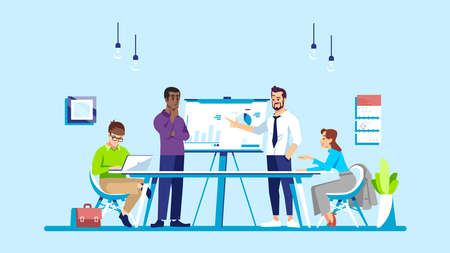 Business training flat vector illustration. Corporate meeting, conference, business course. Coworkers, partners, colleagues discussing task isolated cartoon characters. Office work, teamwork concept Illustration