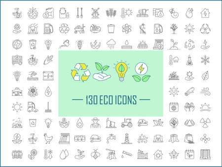 Ecology linear icons big set. Thin line contour symbols. Ecology care, nature protection, alternative energy resources, energy technologies. Isolated vector outline illustrations. Editable stroke