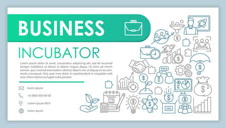 Business incubator banner, business card vector template. Project management. Company contact with phone, email line icons. Startup launch service. Presentation, web page idea. Corporate print layout