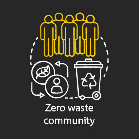 Zero waste lifestyle community and eco friendly living society chalk concept icon. Environmental issues and communication, communal effort idea. Vector isolated chalkboard illustration