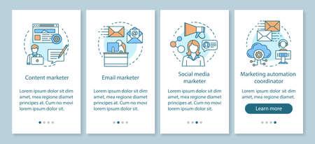 Specialità di marketing digitale che integrano la schermata della pagina dell'app mobile con concetti lineari. Contenuto, istruzioni grafiche per la procedura dettagliata degli operatori di email marketing. Modello vettoriale UX, UI, GUI con illustrazioni Vettoriali