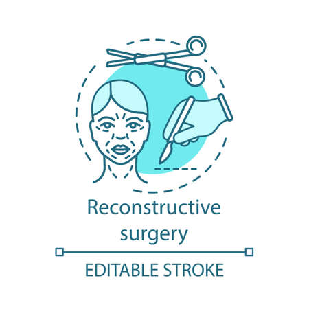 Reconstructive surgery concept icon. Body structures treatment idea thin line illustration. Congenital defects. Abnormalities, trauma, tumors. Vector isolated outline drawing. Editable stroke 일러스트