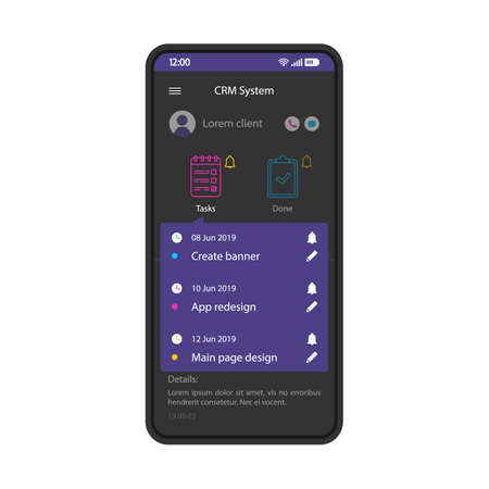 CRM system smartphone interface vector template. Mobile client manager app page black design layout. Customer management software screen. Flat UI for application. Business organizer. Phone display Иллюстрация