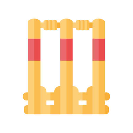 Cricket stumps flat design long shadow color icon. Cricket wicket. Gate in game. Three vertical posts with bails. Sport playground equipment. Outdoor sports activity. Vector silhouette illustration