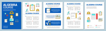Algebra course, math lessons brochure template layout. Flyer, booklet, leaflet print design with linear illustrations. Vector page layouts for magazines, annual reports, advertising posters 写真素材 - 128611202