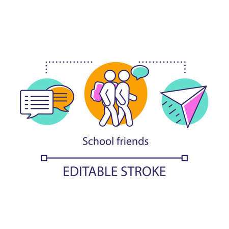 School friends concept icon. Classmates with backpacks gossiping. Schoolboys dialogue, speech bubbles. Childhood memories thin line illustration. Vector isolated outline drawing. Editable stroke Stock Illustratie