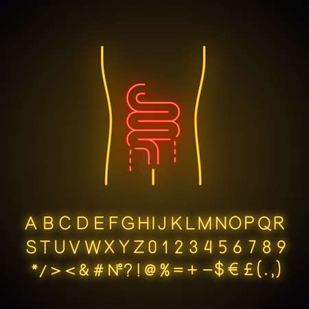 Ill intestines neon light icon. Sore human organ.  Unhealthy digestive system. Gastrointestinal tract. Glowing sign with alphabet, numbers and symbols. Vector isolated illustration