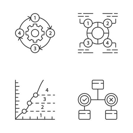 Diagram concepts linear icons set. Decision, explanatory, phase, process charts. Information symbolic representation. Thin line contour symbols. Isolated vector outline illustrations. Editable stroke