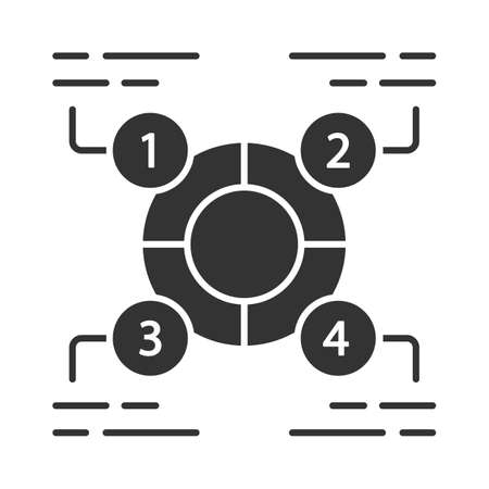 Explanatory diagram glyph icon. Statistics data visualization. Ring divided into 4 sectors. Information symbolic representation. Silhouette symbol. Negative space. Vector isolated illustration