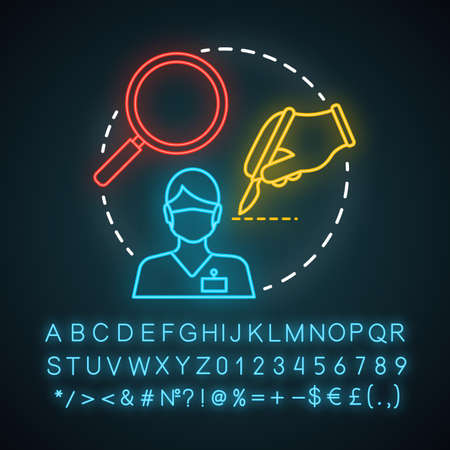 Microsurgery neon light icon. Operating microscope. Loupe magnification. Microvascular surgery. Precision instrumentation. Glowing sign with alphabet, numbers and symbols. Vector isolated illustration