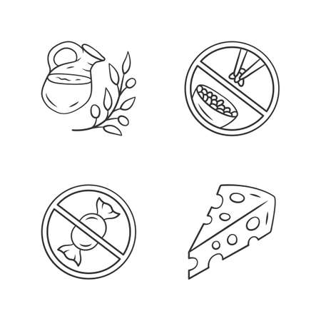 No sugar organic products linear icons set. Thin line contour symbols. Glucose free and low carbs keto diet. Natural fresh drink, Swiss cheese isolated vector outline illustrations. Editable stroke