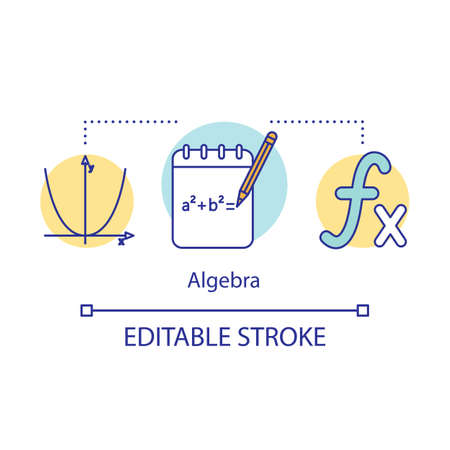 Algebra courses, lessons concept icon. Advanced calculations, learning advanced algebra idea thin line illustration. Algebraic formula. Vector isolated outline drawing. Editable stroke
