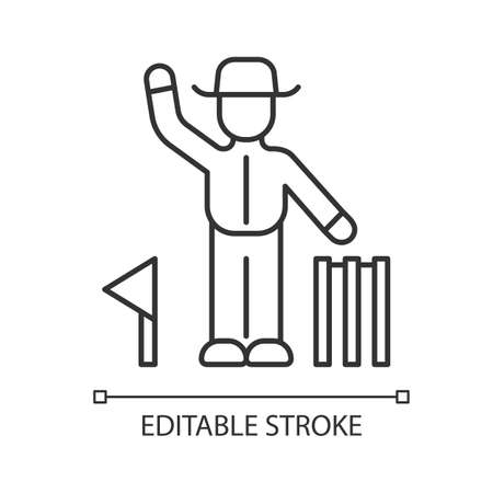 Cricket judge linear icon. Umpire signals decision. Arbitrator follow game. Man in uniform, flag and wicket. Thin line illustration. Contour symbol. Vector isolated outline drawing. Editable stroke Illustration