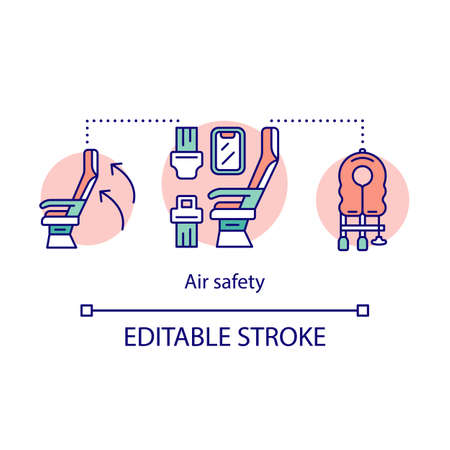 Air safety concept icon. Emergency help idea thin line illustration. Flight equipment and devices. Life vest, oxygen mask, seat belt. Vector isolated outline drawing. Editable stroke