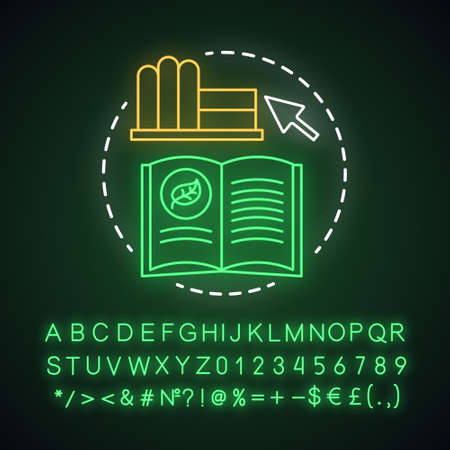 Zero waste books neon light concept icon. Environmental issues and eco, friendly education idea, ecology learning idea. Glowing sign with alphabet, numbers and symbols. Vector isolated illustration  イラスト・ベクター素材