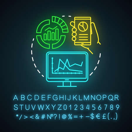 Infographics neon light icon. Marketing, SMM metrics, analytics. Awareness content. Data representation. Glowing sign with alphabet, numbers and symbols. Vector isolated illustration Çizim