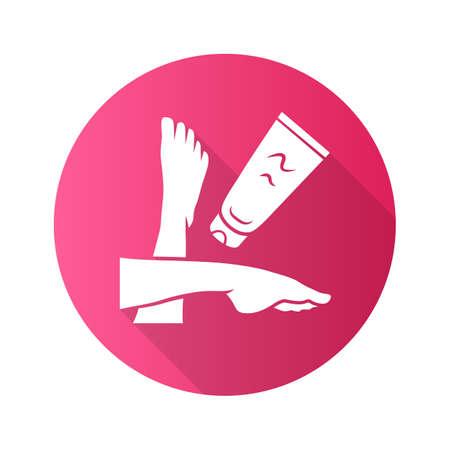 Fußcreme flaches Design lange Schatten Glyphe Symbol. Hautpflegeprodukt-Vektor-Silhouette-Illustration. Damenhygiene, Körperpflege. Bräunungs- und Sonnenbrandschutz. Frauenbeine und feuchtigkeitsspendende Lotionstube