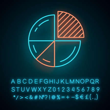 Pie chart neon light icon. Circle divided into parts. Diagram. Circular statistical graphic. Data visualization. Glowing sign with alphabet, numbers and symbols. Vector isolated illustration