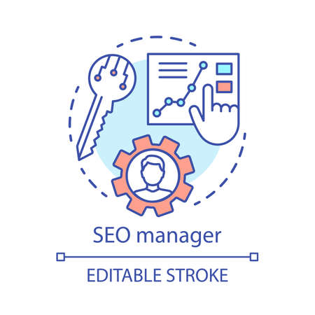 SEO manager concept icon. Digital marketing specialty idea thin line illustration. Search engine optimization. SEO strategy, website content. Vector isolated outline drawing. Editable stroke