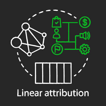 Linear attribution chalk concept icon. Multi-touch attribution model idea. Attribution modeling type. Marketing campaigns analytics. Vector isolated chalkboard illustration