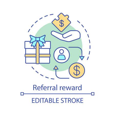 Referral reward concept icon. Marketing strategy idea thin line illustration. Referral bonus reward programs. Refer friend. Encourage loyal customers. Vector isolated outline drawing. Editable stroke