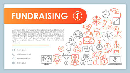 Banner de recaudación de fondos, plantilla de vector de tarjeta de visita. Crowdfunding y patrocinio. Contacto de la empresa con teléfono, iconos de línea de correo electrónico. Financiamiento, presupuesto. Presentación, idea de página web. Diseño de impresión corporativa