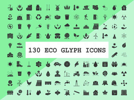 Ecology glyph icons big set. Silhouette symbols. Ecology global care, alternative energy resources, power saving technologies. Ecological industry and agriculture. Vector isolated illustration