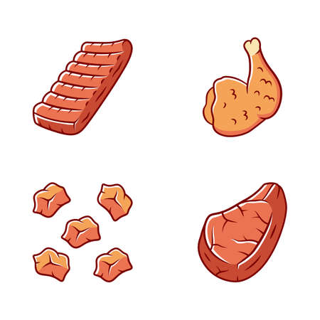 Butchers meat color icons set. Grilled chicken ham, pork steak, pre cut meat, beef ribs. Roasted meat production and sale. Butchery business. Protein sources. Isolated vector illustrations