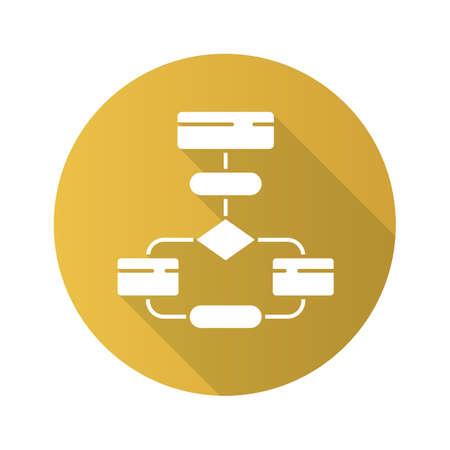 Flow diagram flat design long shadow glyph icon. Flowchart. Elements structure and interaction. Process visualization. Problem solving stages. Computer algorithm. Vector silhouette illustration Standard-Bild - 128633379