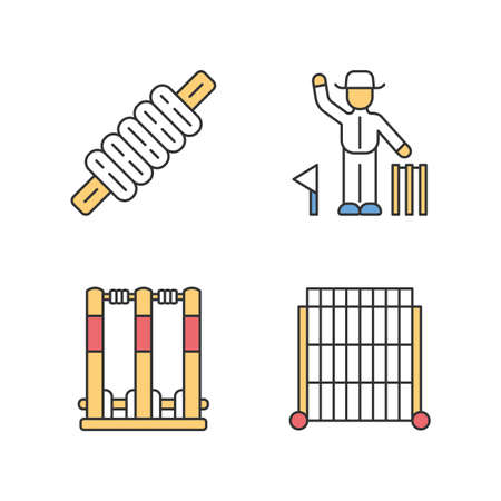 Cricket championship color icons set. Sport competition. Bail, stumps, sight screen, umpire. Sporting gear, judge. Club tournament. Athletic activity. Team battle. Isolated vector illustrations