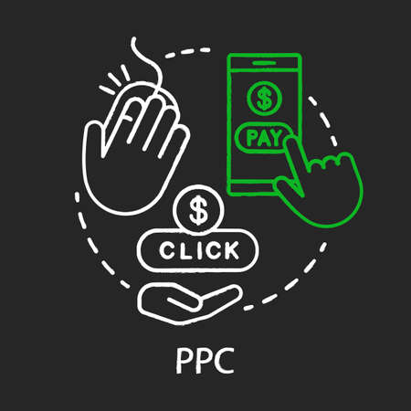 PPC chalk concept icon. Digital marketing tool idea. Pay per click. Internet advertising model. Marketing strategy. Online promotion. Vector isolated chalkboard illustration