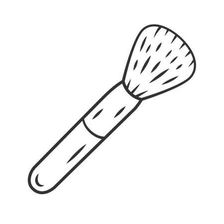 Cosmetic equipment, powder brush linear icon. Blusher thin line illustration. Contour symbol. Professional cosmetologist, makeup artist tool vector isolated outline drawing. Editable stroke 일러스트