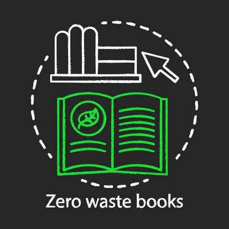Zero waste books and literarure, natural issues awareness chalk concept icon. Environmental issues and eco, friendly education idea, ecology learning idea. Vector isolated chalkboard illustration