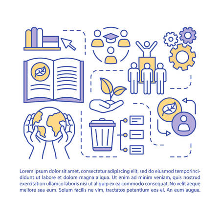 Zero waste education, article page vector template. Brochure, magazine, booklet design element with linear icons and text boxes. Waste management. Print design. Concept illustrations with text space  イラスト・ベクター素材