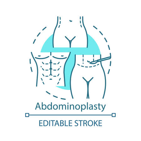Abdominoplasty concept icon. Aesthetic cosmetic surgery idea thin line illustration. Tummy tuck operation. Lower body lift. Vector isolated outline drawing. Editable stroke