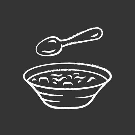 Soup chalk icon. Bowl and spoon, kitchenware. Hot steaming soup plate. First meal. Healthy diet. Nutritious meal. Bistro, restaurant, cafe menu. Isolated vector chalkboard illustration