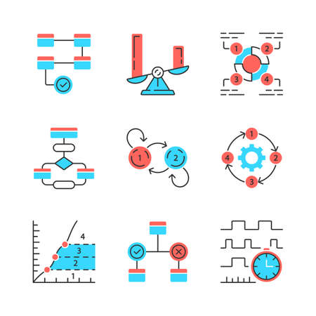 Diagram concepts color icons set. Statistics data and process flow visualization. Information symbolic representation. Comparisons among discrete categories. Isolated vector illustrations