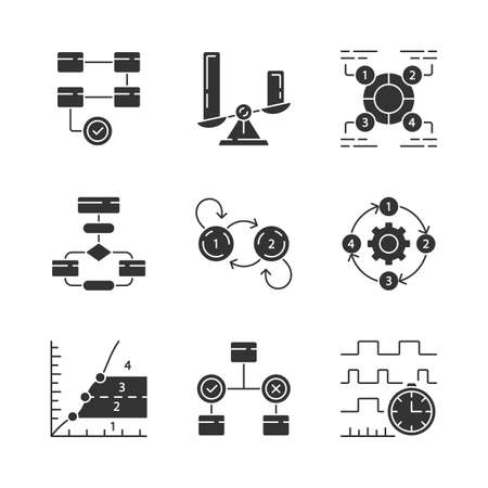 Diagram concepts glyph icons set. Statistics data and process flow visualization. Information representation. Comparisons among discrete categories. Silhouette symbols. Vector isolated illustration