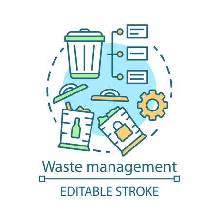 Zero waste living, waste management concept icon. Recyclable products idea thin line illustration.Trash sorting, garbage recycle, reuse. Vector isolated outline drawing. Editable stroke