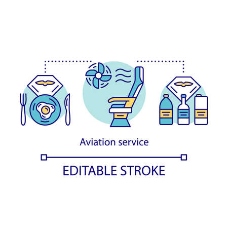Aviation service and amenities concept icon. Flight breakfast, drinks idea thin line illustration. Airplane seat. Plane conditioning system. Vector isolated outline drawing. Editable stroke Ilustração