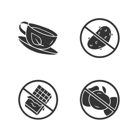 Low carbs glyph icons set. No fructose and glucose, diabetic products. Organic green tea cup, antioxidant. Silhouette symbols. Sugar free food and healthy eating vector isolated illustration