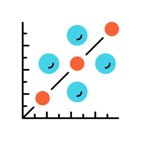 Scatter plot color icon. Scattergram. Mathematical diagram. Symbolic representation of information. Chart on coordinate plane. Statistics data visualization. Isolated vector illustration Vector Illustration