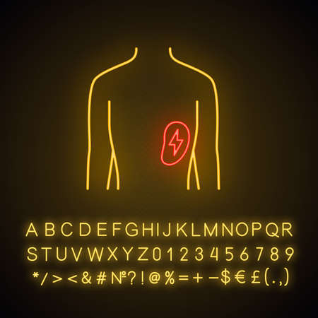 Ill spleen neon light icon. Sore human organ.  Unhealthy lymphatic system. Immune system. Glowing sign with alphabet, numbers and symbols. Vector isolated illustration Illustration