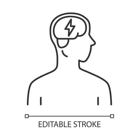 Ill brain linear icon. Dementia, stroke. Sore human organ. Unhealthy nervous system. Mental health. Thin line illustration. Contour symbol. Vector isolated outline drawing. Editable stroke