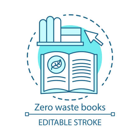 Zero waste books and literarure concept icon. Environmental issues and eco, friendly education idea, ecology learning thin line illustration. Vector isolated outline drawing. Editable stroke