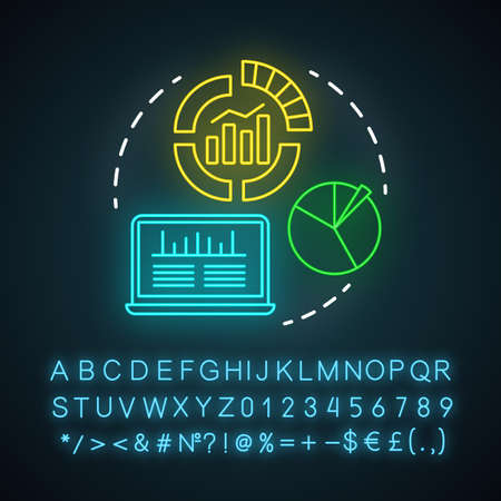Infographics neon light icon. Channels for SEO. Digital marketing analytics. Conversions metrics. SMM data statistics. Glowing sign with alphabet, numbers and symbols. Vector isolated illustration 일러스트