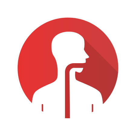 Healthy throat flat design long shadow glyph icon. Oral cavity, pharynx and esophagus in good health. Upper section of alimentary canal. Gastrointestinal tract. Vector silhouette illustration Illustration