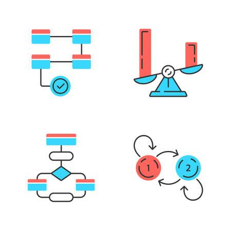 Diagrammkonzepte Farbsymbole gesetzt. Aktivitäts-, Vergleichs-, Fluss-, Zustandsdiagramme. Statistikdaten und Prozessvisualisierung. Informationssymbolische Darstellung. Isolierte Vektorillustrationen