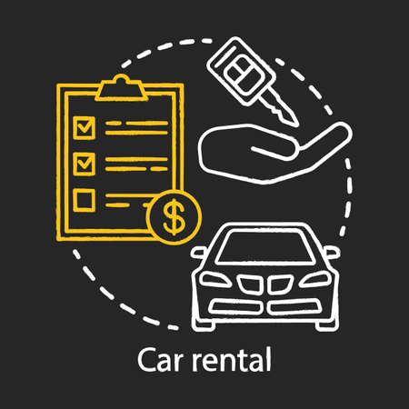 Car rental chalk icon. Automobile rent, leasing. Auto hire. Comfortable traveling, road trip. Summer tourism. Vacation car. Personal auto transport. Isolated vector chalkboard illustration